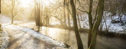 Oszałamiająco zimy panoramiczny krajobrazowy śnieg zakrywał wieś dowcip obraz royalty free