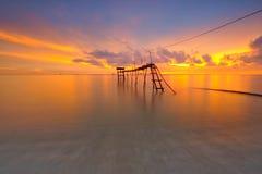Oszałamiająco zmierzch przy seascape Zdjęcia Royalty Free