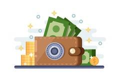 Oszczędzania i ochrona pieniądze depozyt Wektorowa płaska ilustracja rzemienny portfel z kędziorek skrytką royalty ilustracja