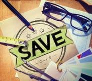 Oszczędzania konta Save finanse pieniądze funduszu pojęcie fotografia royalty free