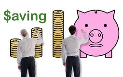 Oszczędzania pojęcie rysujący biznesmenami zdjęcie royalty free