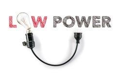 Oszczędzanie energia, małej mocy żarówka, ręki writing Obraz Stock