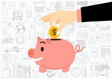Oszczędzanie pieniądze dla wszystkie kosztów w przyszłości Doodles tło Zdjęcia Stock