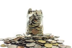 Oszczędzanie pieniądze i konta wzrostowy biznesowy pojęcie Menniczy tajlandzki baht Obrazy Stock