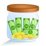 Oszczędzanie pieniądze słój również zwrócić corel ilustracji wektora Zdjęcia Royalty Free