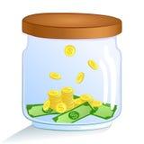 Oszczędzanie pieniądze słój również zwrócić corel ilustracji wektora Fotografia Royalty Free