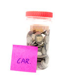 Oszczędzanie pieniądze butelka z wiadomością Zdjęcia Stock
