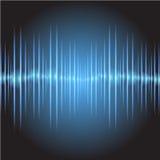 Oszillierendes dunkelblaues Licht des Glühens der Schallwellen, abstrakter Technologiehintergrund Vektor Lizenzfreies Stockbild