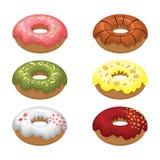 Oszkleni barwioni donuts instalują 3D Wektorowa ilustracja na białym odosobnionym tle Obrazy Stock