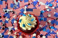 Oszklone babeczki lub muffins dekorujący z ameri Obraz Stock