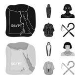 Oszust i cep, złota maska, egipcjanin, mamusia w grobowu Antyczne Egipt ustalone inkasowe ikony w czarnym, monochrom ilustracji