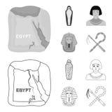 Oszust i cep, złota maska, egipcjanin, mamusia w grobowu Antyczne Egipt ustalone inkasowe ikony w konturze, monochrom ilustracji