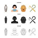 Oszust i cep, złota maska, egipcjanin, mamusia w grobowu Antyczne Egipt ustalone inkasowe ikony w kreskówce, czarnej royalty ilustracja