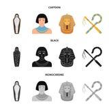 Oszust i cep, złota maska, egipcjanin, mamusia w grobowu Antyczne Egipt ustalone inkasowe ikony w kreskówce, czarnej ilustracji