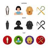 Oszust i cep, złota maska, egipcjanin, mamusia w grobowu Antyczne Egipt ustalone inkasowe ikony w kreskówce, czerń, mieszkanie ilustracja wektor