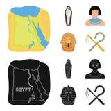 Oszust i cep, złota maska, egipcjanin, mamusia w grobowu Antyczne Egipt ustalone inkasowe ikony w kreskówce, czerń styl ilustracja wektor