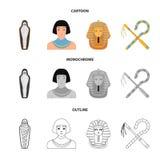 Oszust i cep, złota maska, egipcjanin, mamusia w grobowu Antyczne Egipt ustalone inkasowe ikony w kreskówce, kontur royalty ilustracja