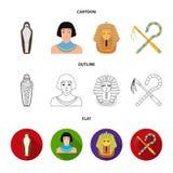 Oszust i cep, złota maska, egipcjanin, mamusia w grobowu Antyczne Egipt ustalone inkasowe ikony w kreskówce, kontur, mieszkanie royalty ilustracja