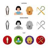 Oszust i cep, złota maska, egipcjanin, mamusia w grobowu Antyczne Egipt ustalone inkasowe ikony w kreskówce, mieszkanie ilustracja wektor
