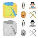 Oszust i cep, złota maska, egipcjanin, mamusia w grobowu Antyczne Egipt ustalone inkasowe ikony w kreskówce, monochrom ilustracja wektor