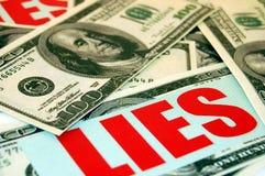 oszustw pieniężni kłamstwa Zdjęcie Stock