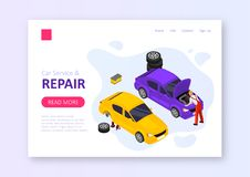 Car service and repair stock illustration