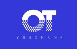 OT de Gestippelde Brief Logo Design van O T met Blauwe Achtergrond Stock Afbeeldingen