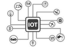 OT (internet of things) infographic. Vector illustration for connected devices using different symbols Stock Images