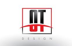 OT-nolla T Logo Letters med röda och svarta färger och Swoosh Royaltyfri Bild