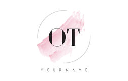 OT O T akwareli listu loga projekt z kurendy muśnięcia wzorem Fotografia Stock