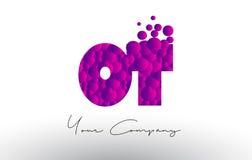 OT O T Dots Letter Logo met Purpere Bellentextuur Royalty-vrije Stock Fotografie