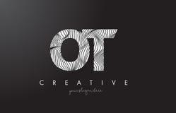 OT O T listu logo z zebr linii tekstury projekta wektorem Fotografia Royalty Free