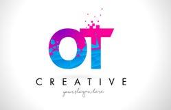 OT O T listu logo z Zniweczoną Łamającą błękit menchii teksturą Desig Fotografia Royalty Free