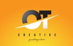OT O T loga Listowy Nowożytny projekt z Żółtym tłem i Swoo Obrazy Stock