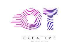 OT O T Zebra Lines Letter Logo Design with Magenta Colors Royalty Free Stock Photos