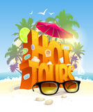 Ot tours vector design against tropical beach Stock Photo