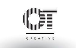 OT Zwart-witte de Lijnenbrief Logo Design van O T Stock Fotografie