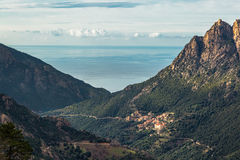 Ota in Corsica with mountains and Mediterranean sea Royalty Free Stock Photography
