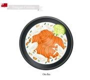 Ota Ika eller den tonganska rå fisken i kokosnöt mjölkar stock illustrationer