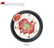 Ota Ika eller tongansk rå fisk i kokosnötkräm stock illustrationer