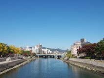 Ota river and A Bomb dome in Hiroshima, Japan. Royalty Free Stock Photography