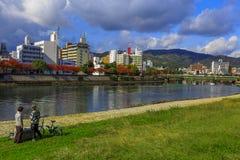 Ota River in Hiroshima. Hiroshima, Japan - November 15 2013: The Ota River is the major river that flows through Hiroshima Prefecture and empties into the Seto royalty free stock photo