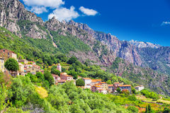 Ota town with the mountains in the background near Evisa and Porto, Corsica, France Stock Images