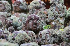 The stone of statues at rain day. The Otagi Nenbutsu ji Temple, Kyoto, Japan Royalty Free Stock Photography