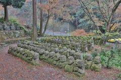 The stone statues representing disciples of Buddha. The Otagi Nenbutsu ji Temple, Kyoto, Japan Stock Photo