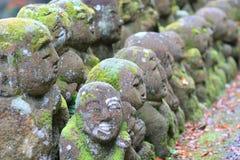The stone statues representing disciples of Buddha. The Otagi Nenbutsu ji Temple, Kyoto, Japan Royalty Free Stock Photos