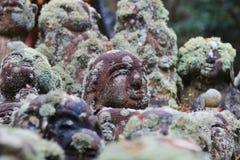 The stone statues representing disciples of Buddha. The Otagi Nenbutsu ji Temple, Kyoto, Japan Royalty Free Stock Image