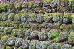 The stone statues representing disciples of Buddha. The Otagi Nenbutsu ji Temple, Kyoto, Japan Royalty Free Stock Photo