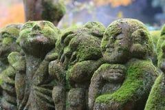 A stone statues representing disciples of Buddha. The Otagi Nenbutsu ji Temple, Kyoto, Japan Royalty Free Stock Images