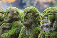 A stone statues representing disciples of Buddha. The Otagi Nenbutsu ji Temple, Kyoto, Japan Stock Photo